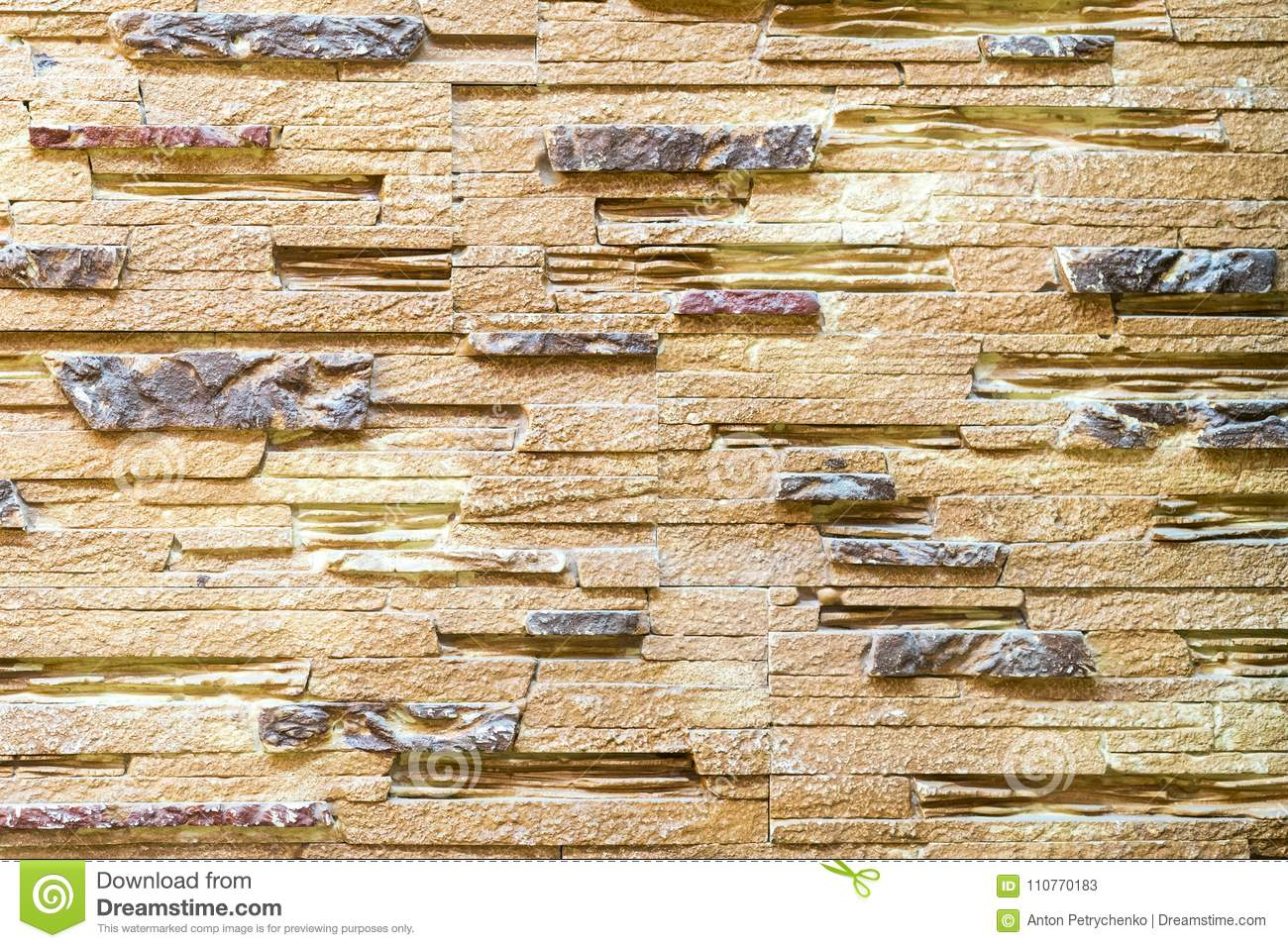Wall Made Of Decorative Brown Stone. Background Stock Image - Image ...