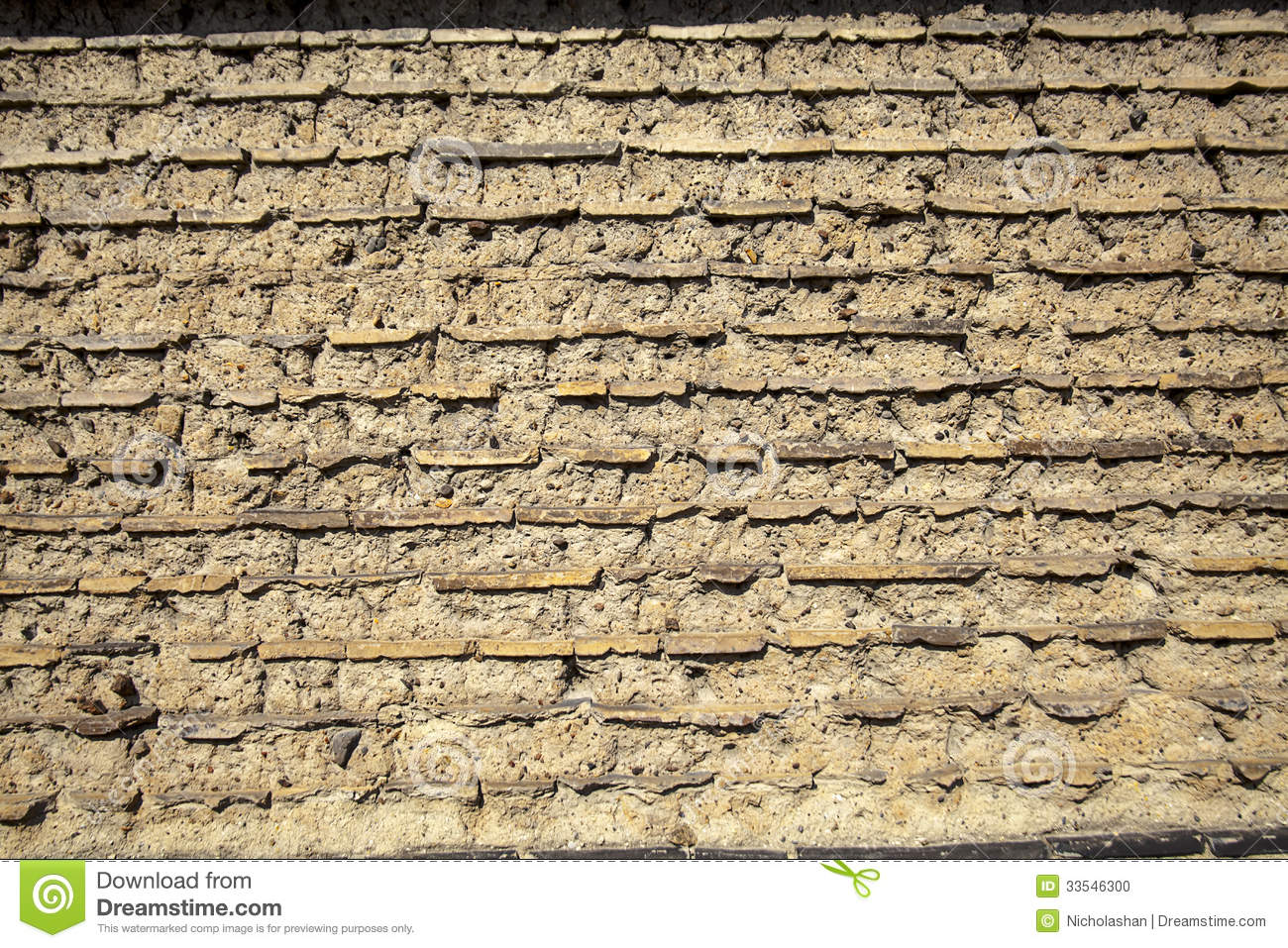 Wall made up of mud brick and soil stock photo image for Things made up of soil