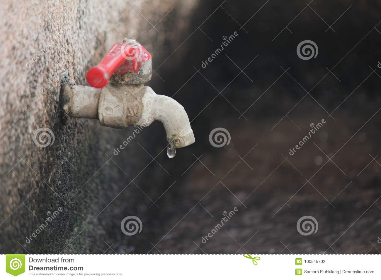 Wall mounted faucet stock photo. Image of outdoor, wall - 100545702