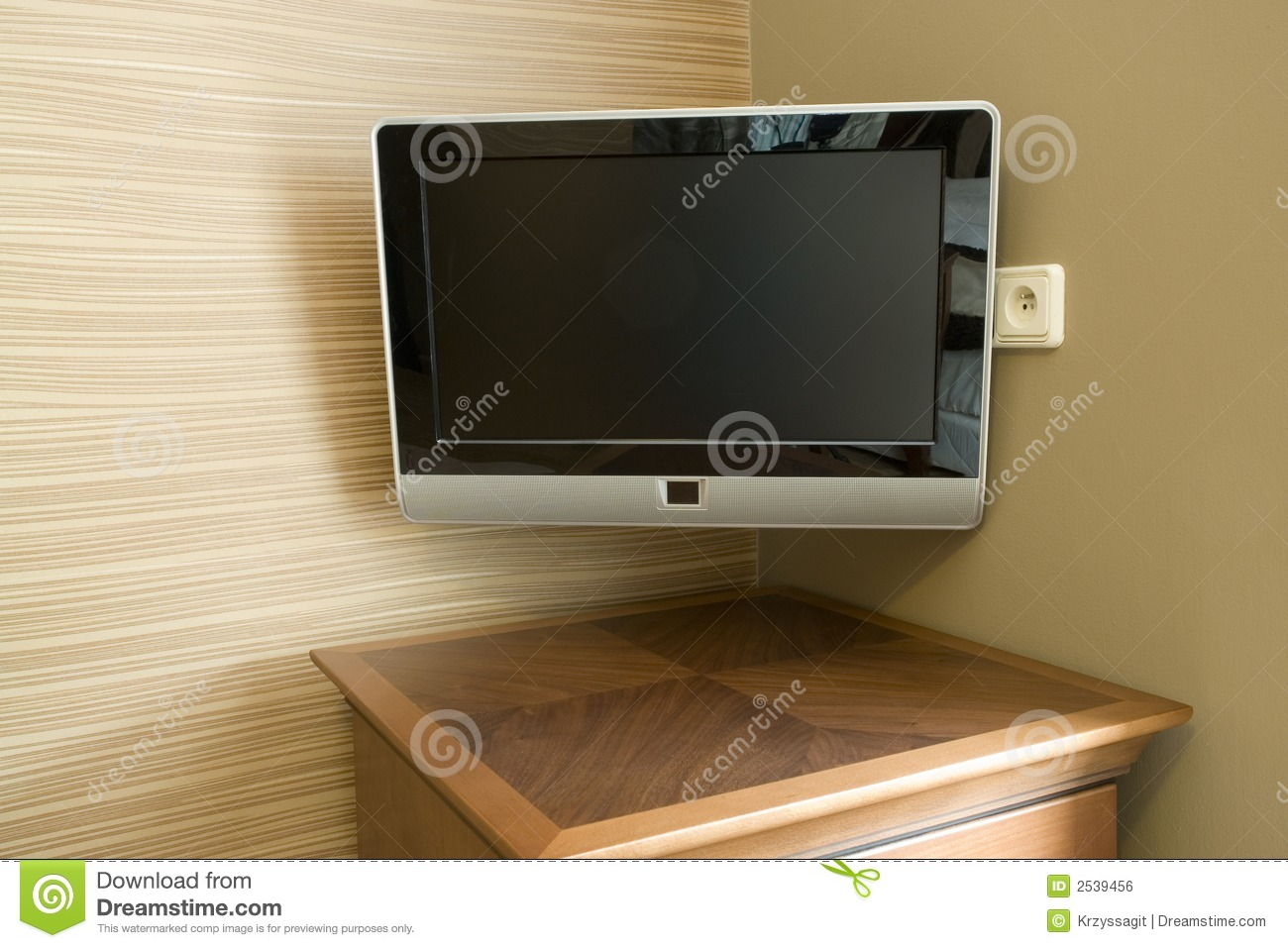 wall mounted tv stock photo image of monitor screen 2539456. Black Bedroom Furniture Sets. Home Design Ideas
