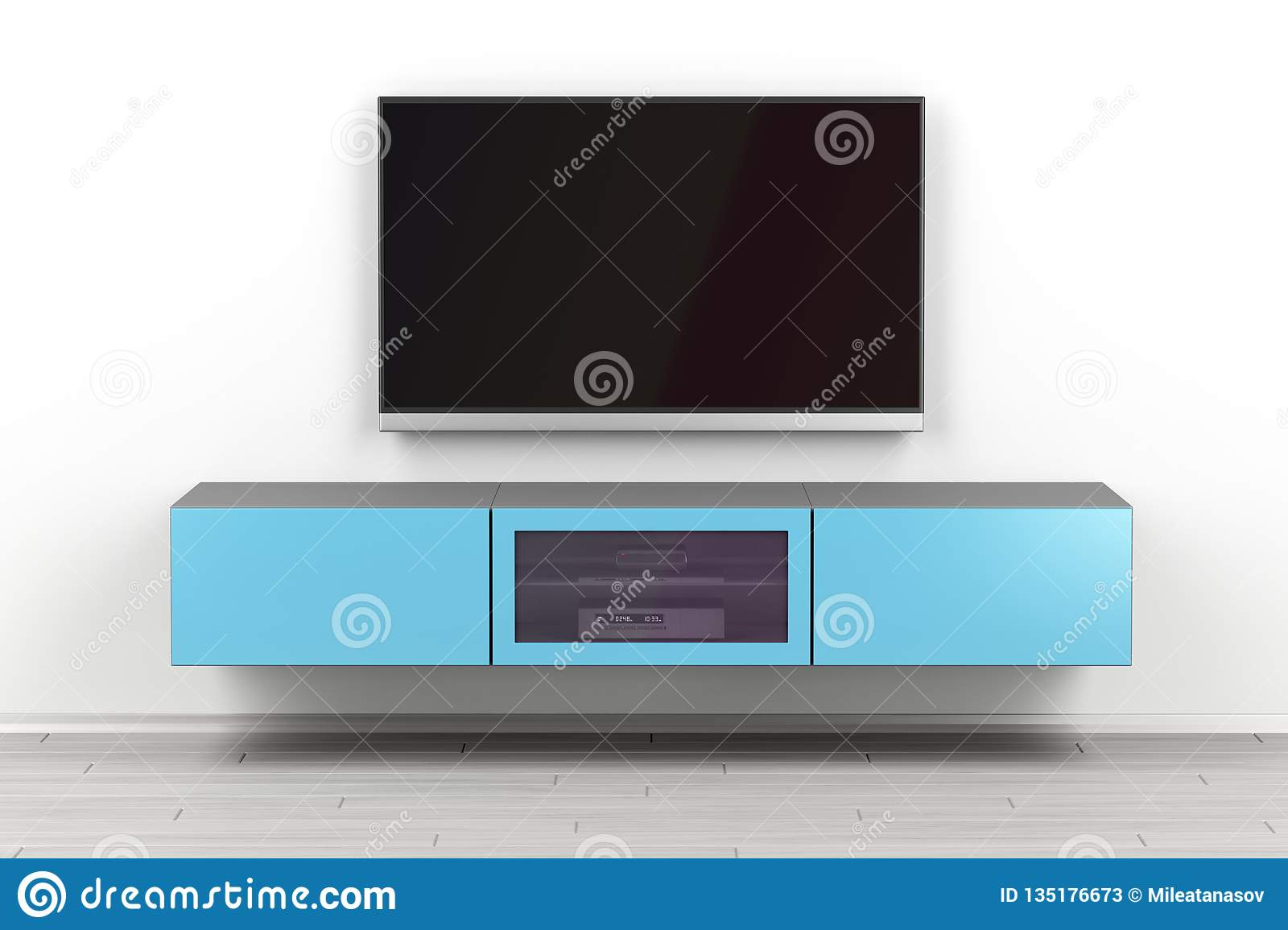 Wall Mounted Tv Cabinet And Big Tv Stock Illustration Illustration