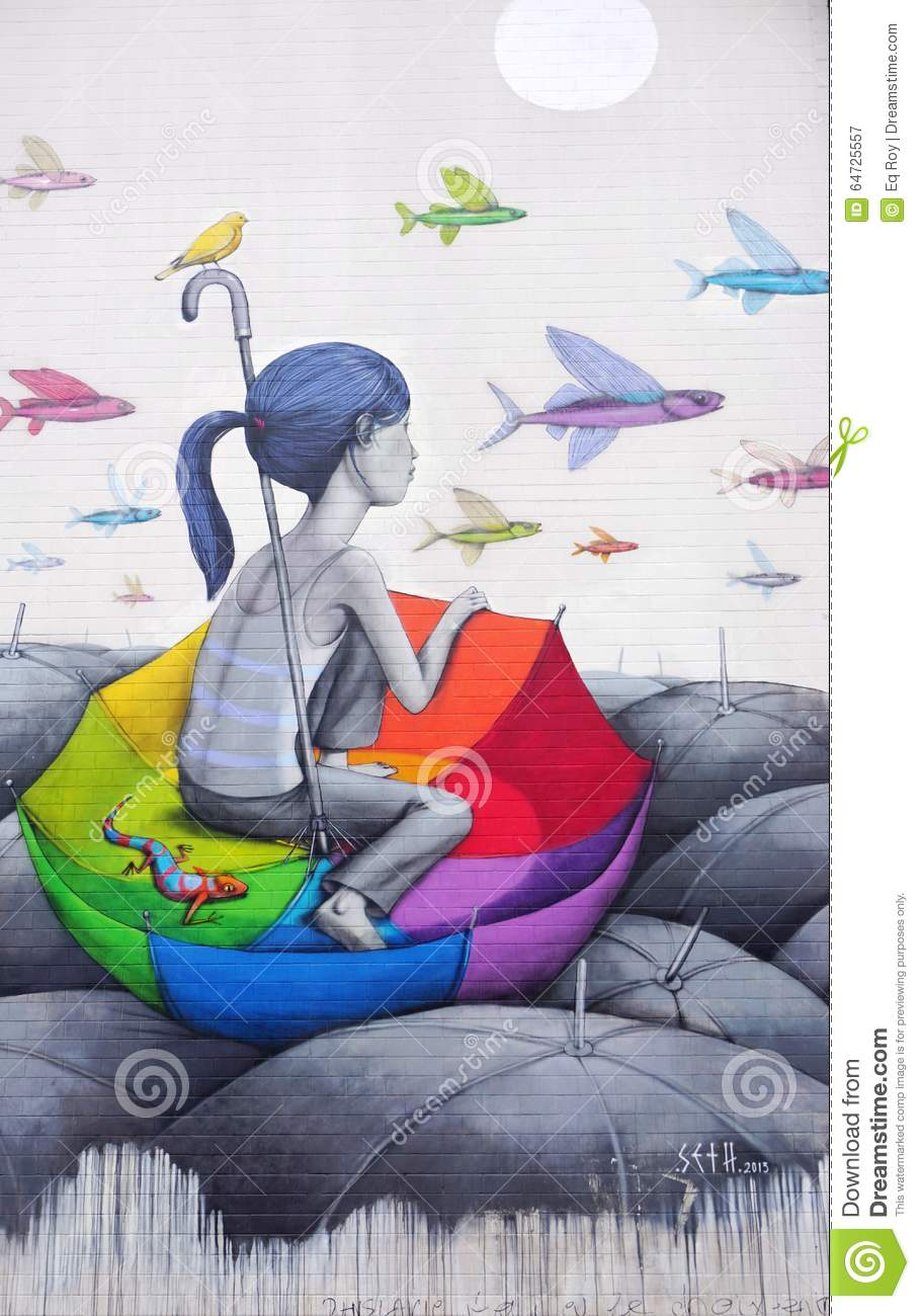 Wall Mural Painting By Famous French Street Artist Seth