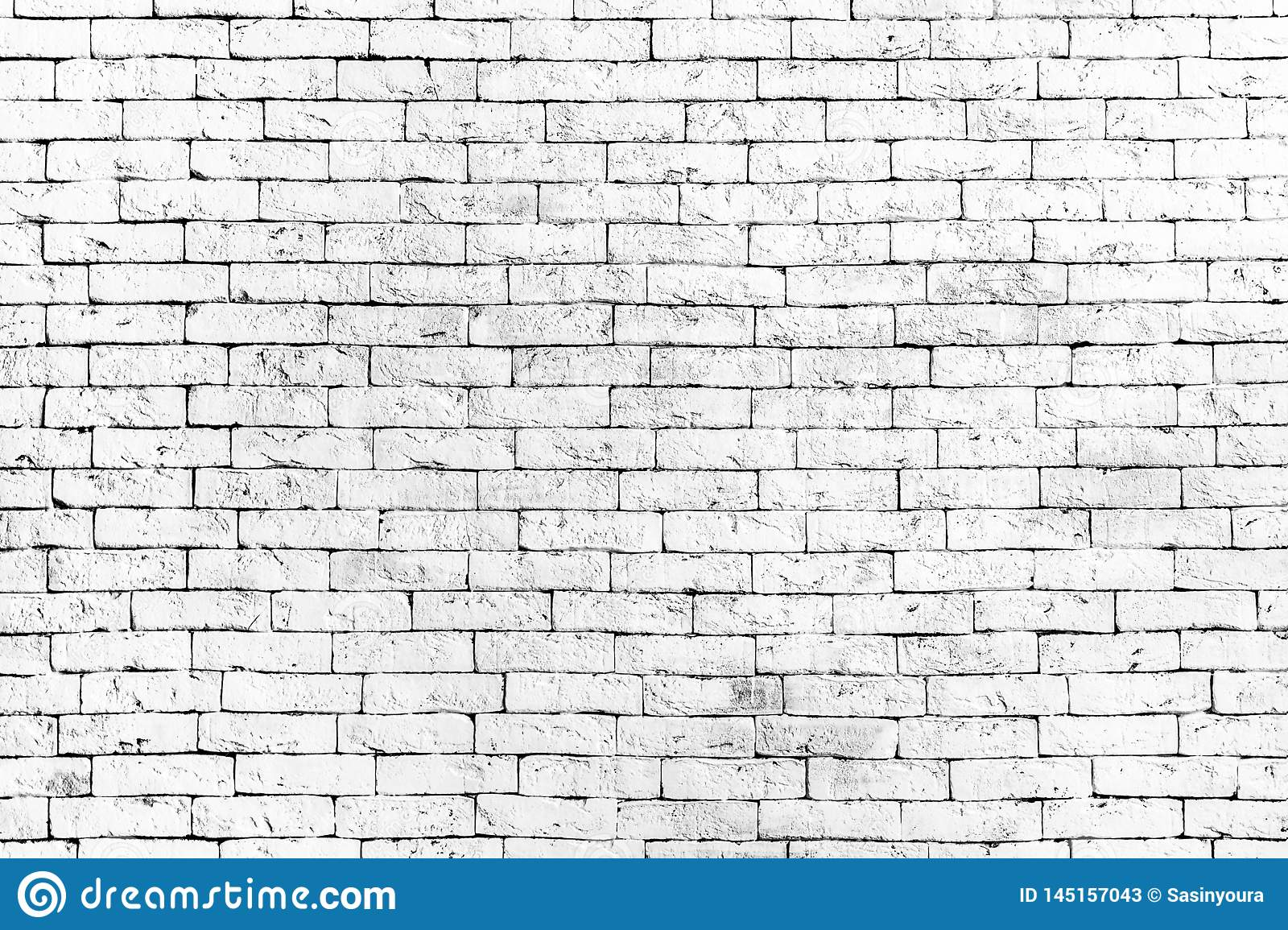 Wall of old white brick, grunge style background texture, can use for design.