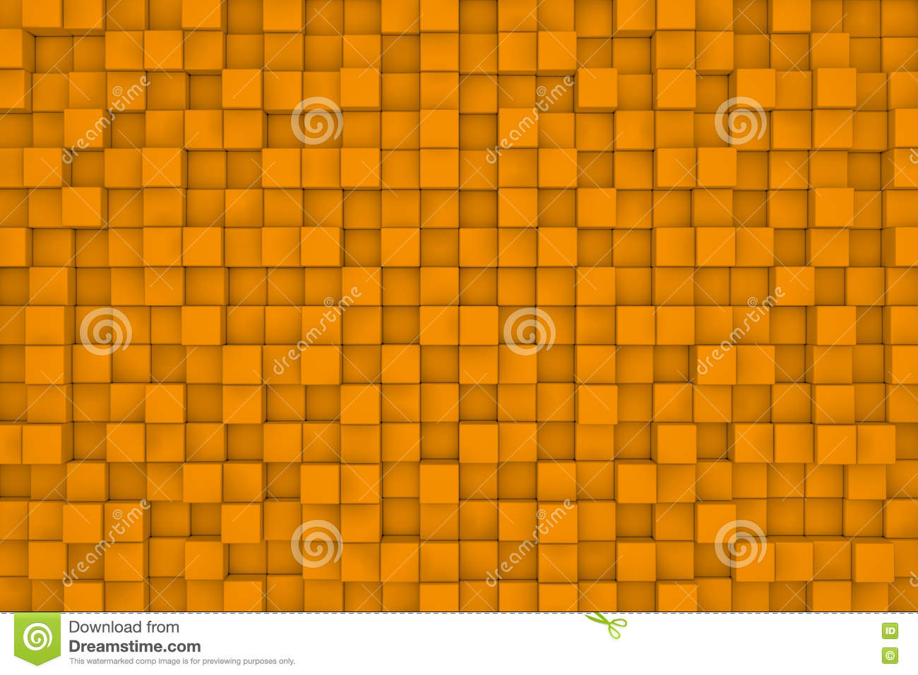 Wall of orange cubes. Abstract background