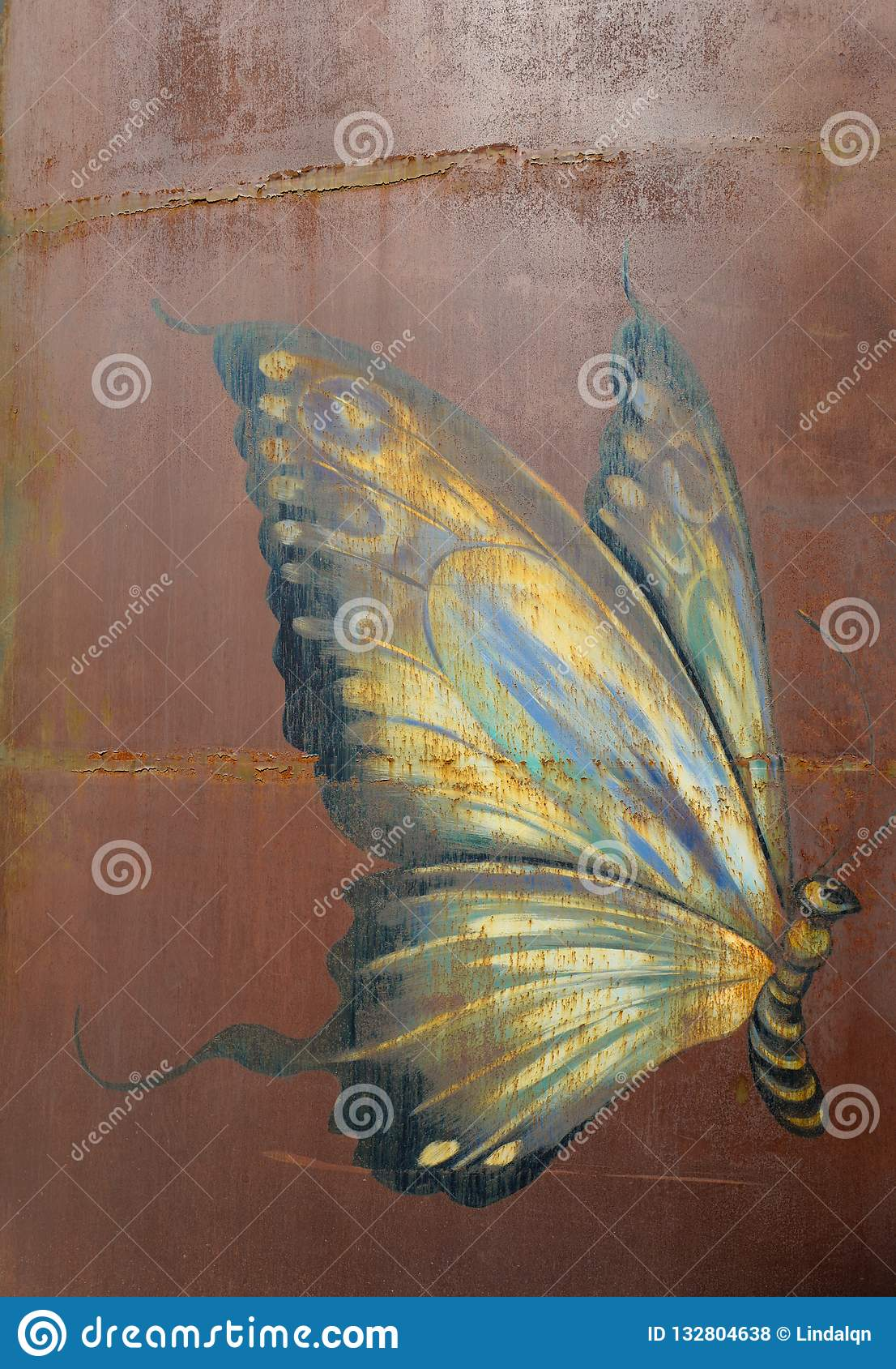 the wall painting of a butterfly