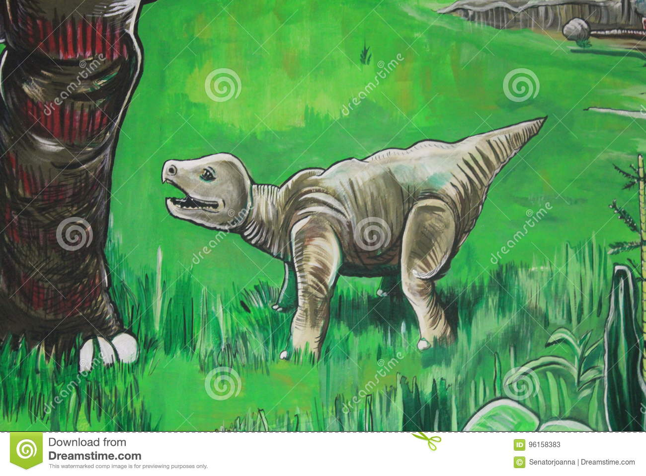 Download A Wall Painting Of Dinosaurs In Gondwana The Prehistoric Museum Germany Stock Image