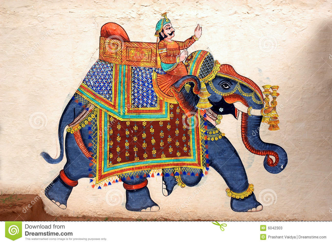 Wall Painting Of Elephant At City Palace Udaipur Stock Image