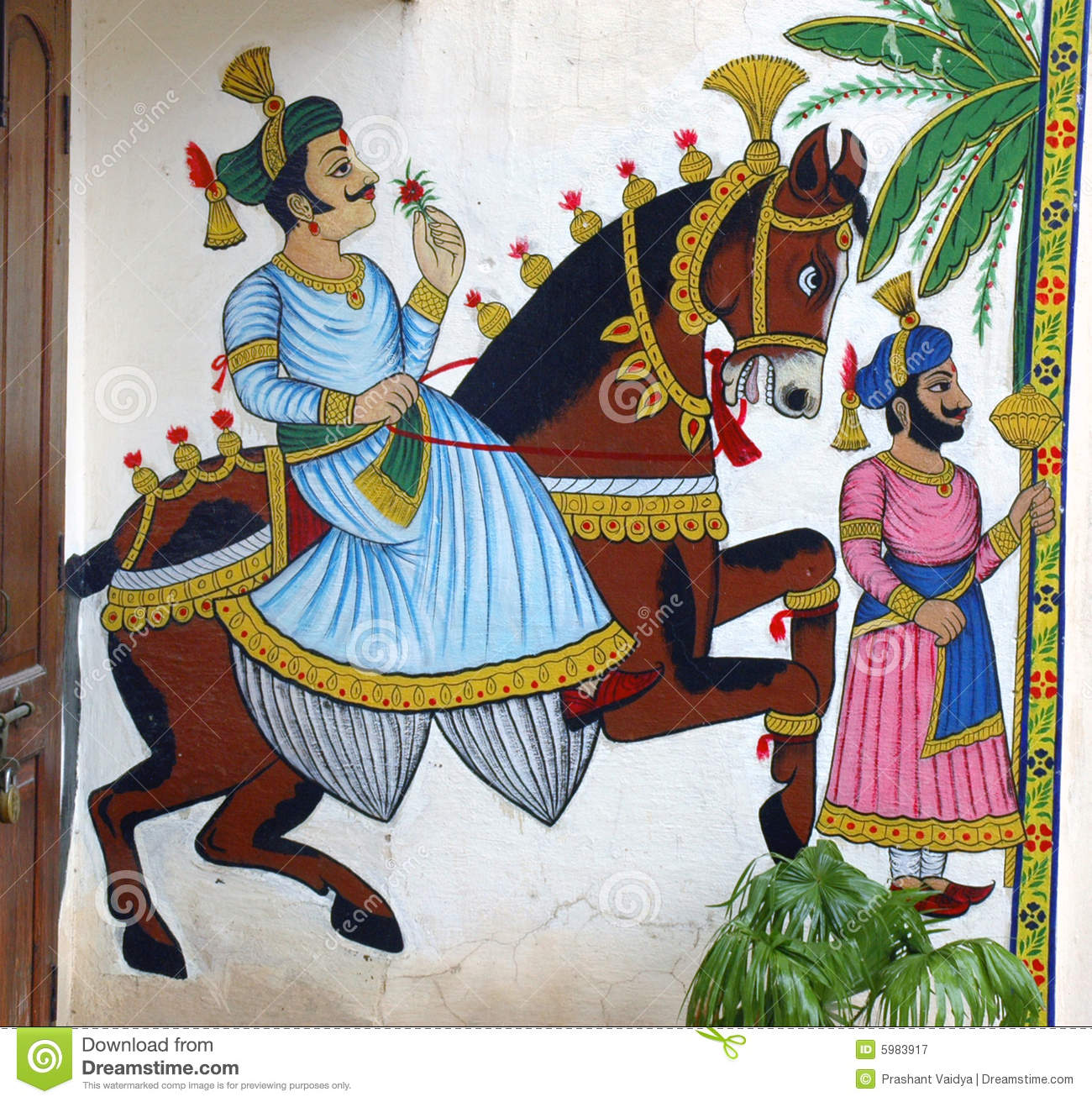 Wall Painting Of Horse With Maharaja Stock Image Image Of Touris Handcraft 5983917