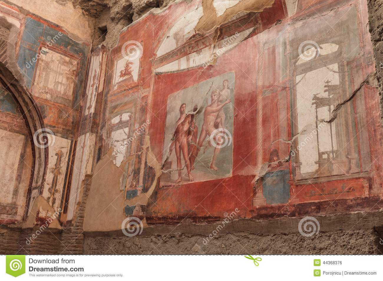 Wall painting of neptune and aimone in roman villa in for Ancient mural villa