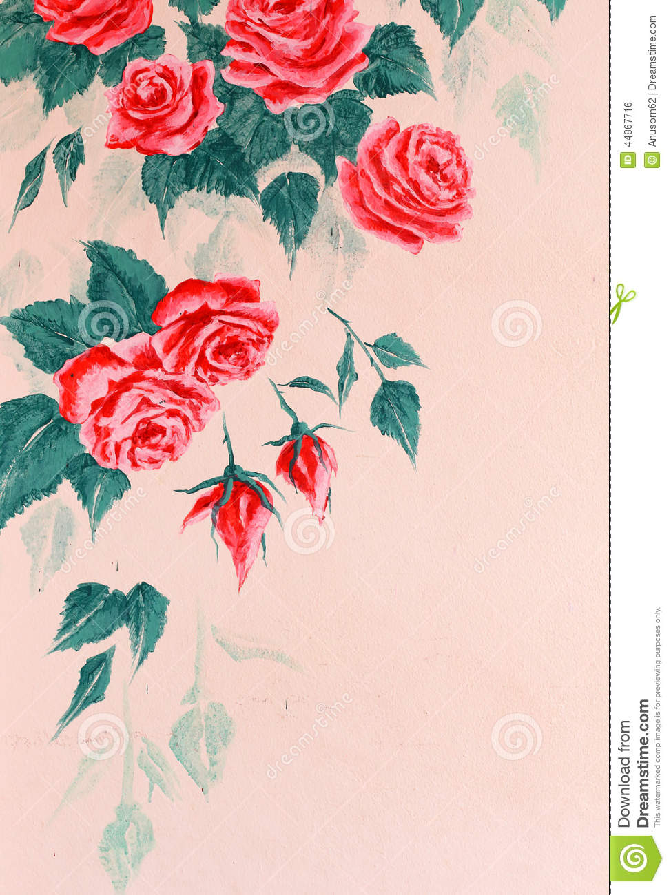 Wall with painting rose stock illustration illustration of