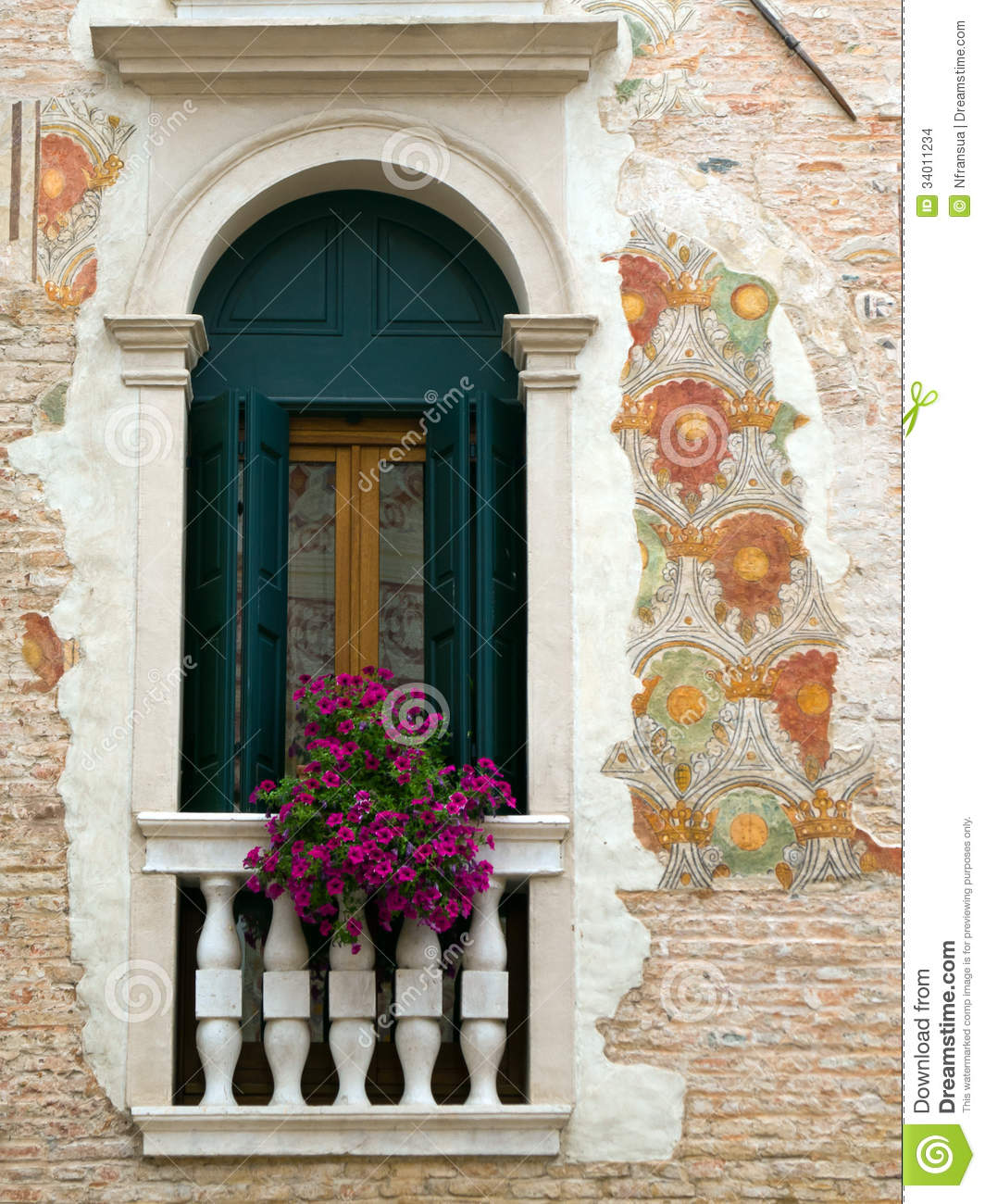 Wall Painting With A Window Stock Photo Image Of Detail Antique