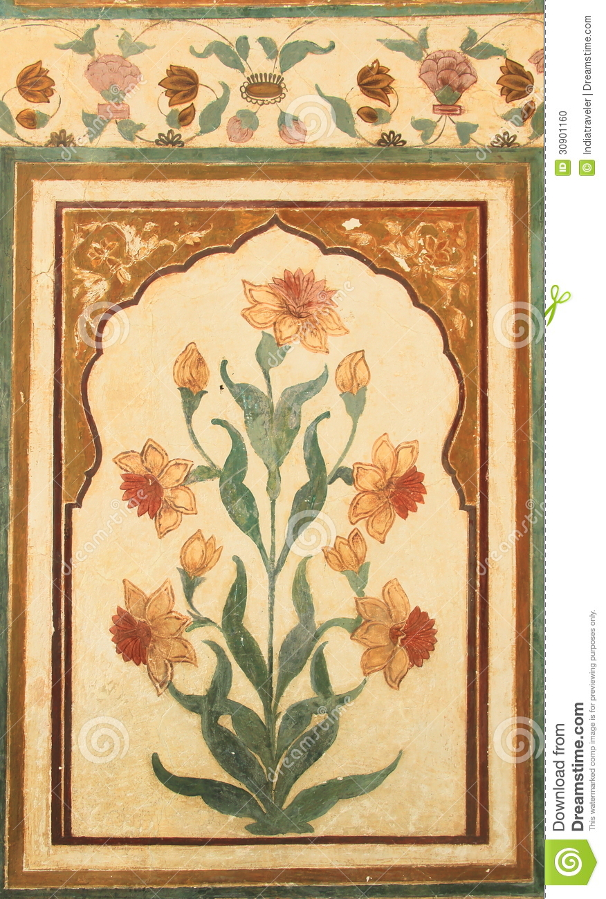 Wall Paintings On Nahargarh Fort Stock Photo Image Of Decor