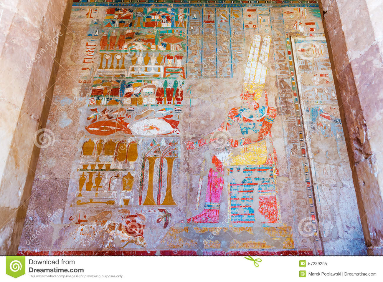 Wall paintings in temple of hatshepsut in egypt stock for Egyptian fresco mural painting