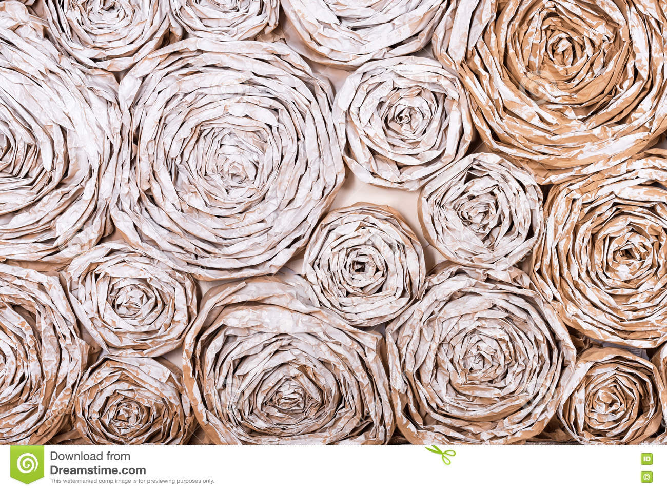 Wall With Paper Flowers Handmade Craft Creative Abstraction