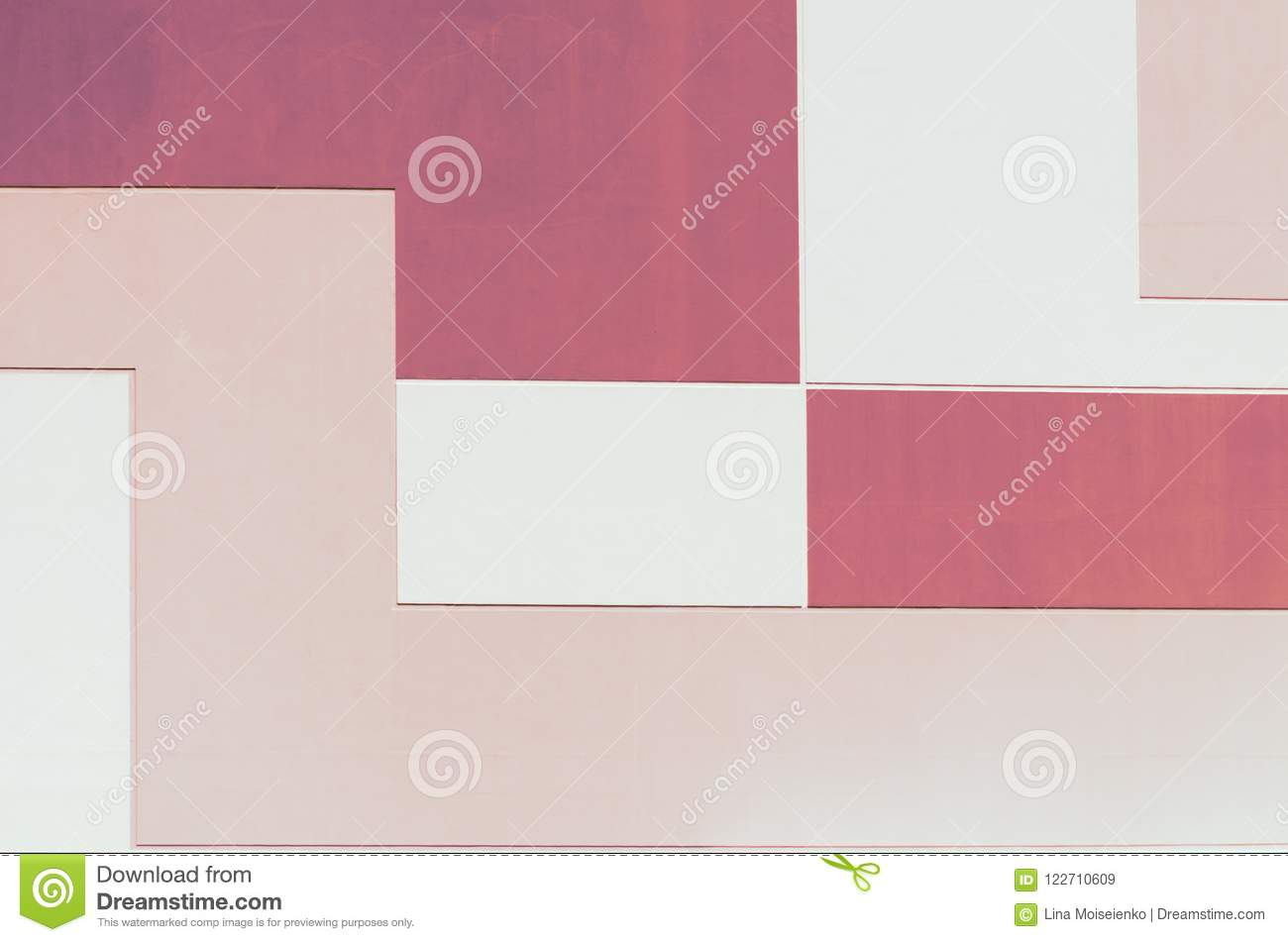 Wall in pastel two color, geometric abstract background, rectangular shape