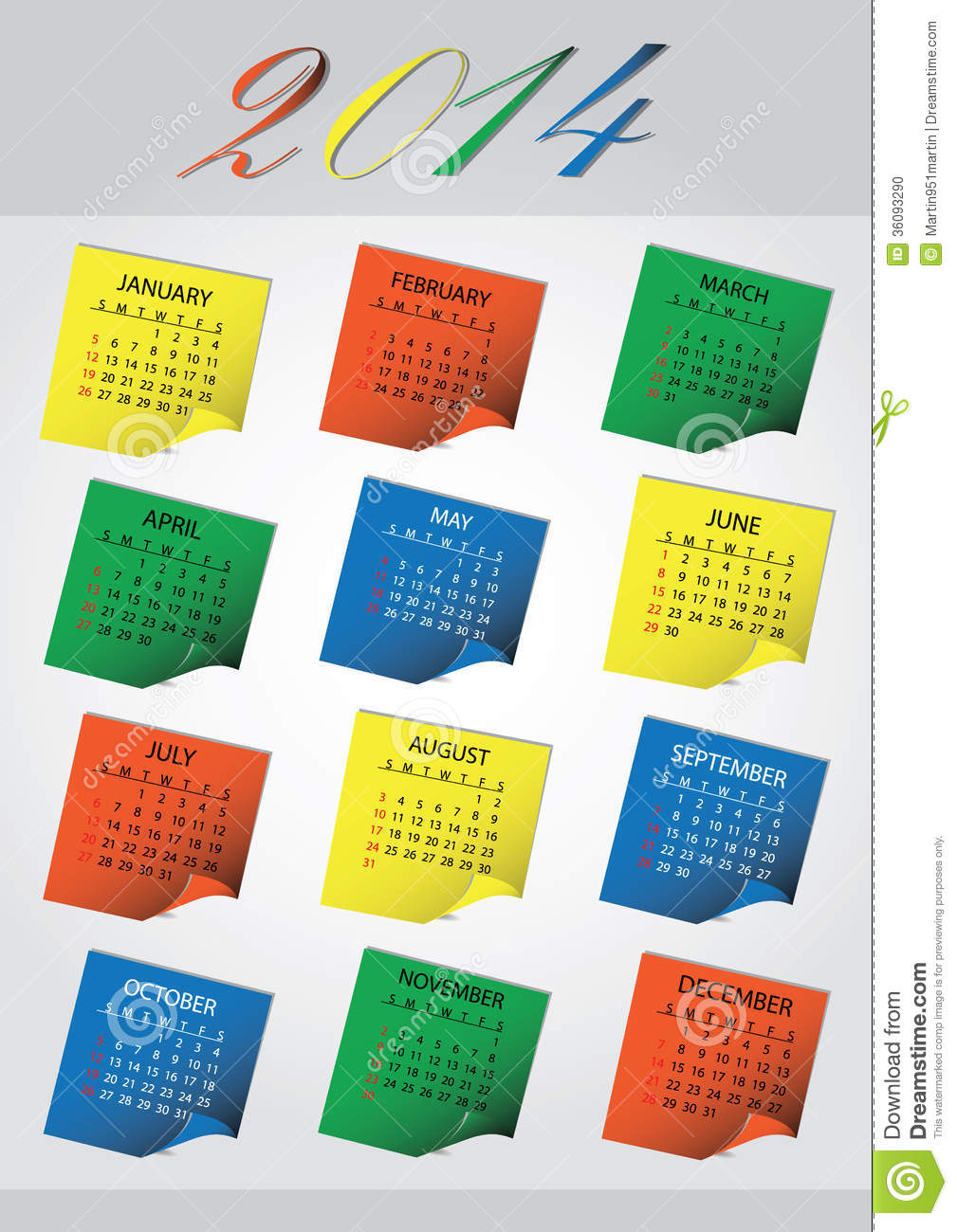 2014 Wall Post It Calendar Eps10 Stock Photo - Image: 36093290