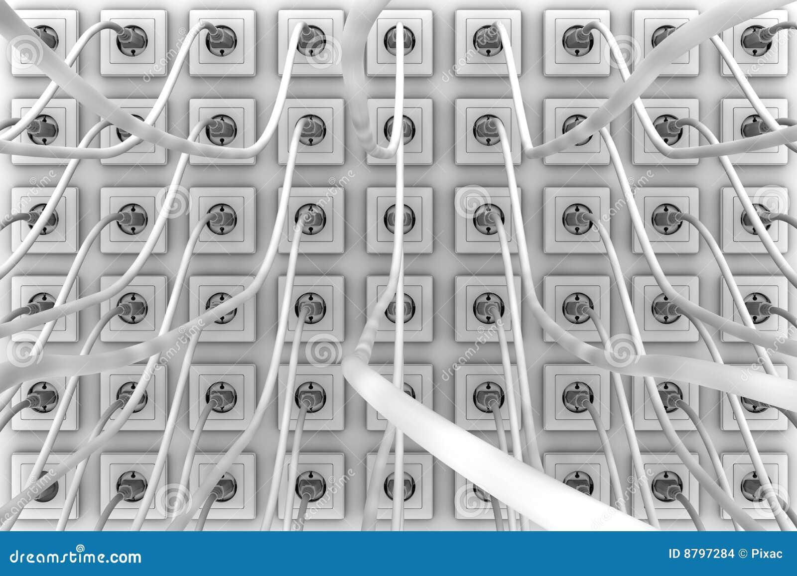 wall of power plugs stock illustration illustration of receptacle