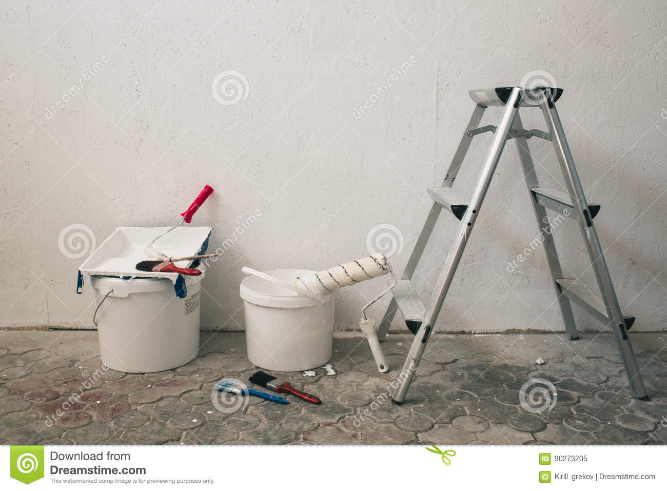 Wall Prepared For Painting Brushes Buckets Of Paint Stairs Near