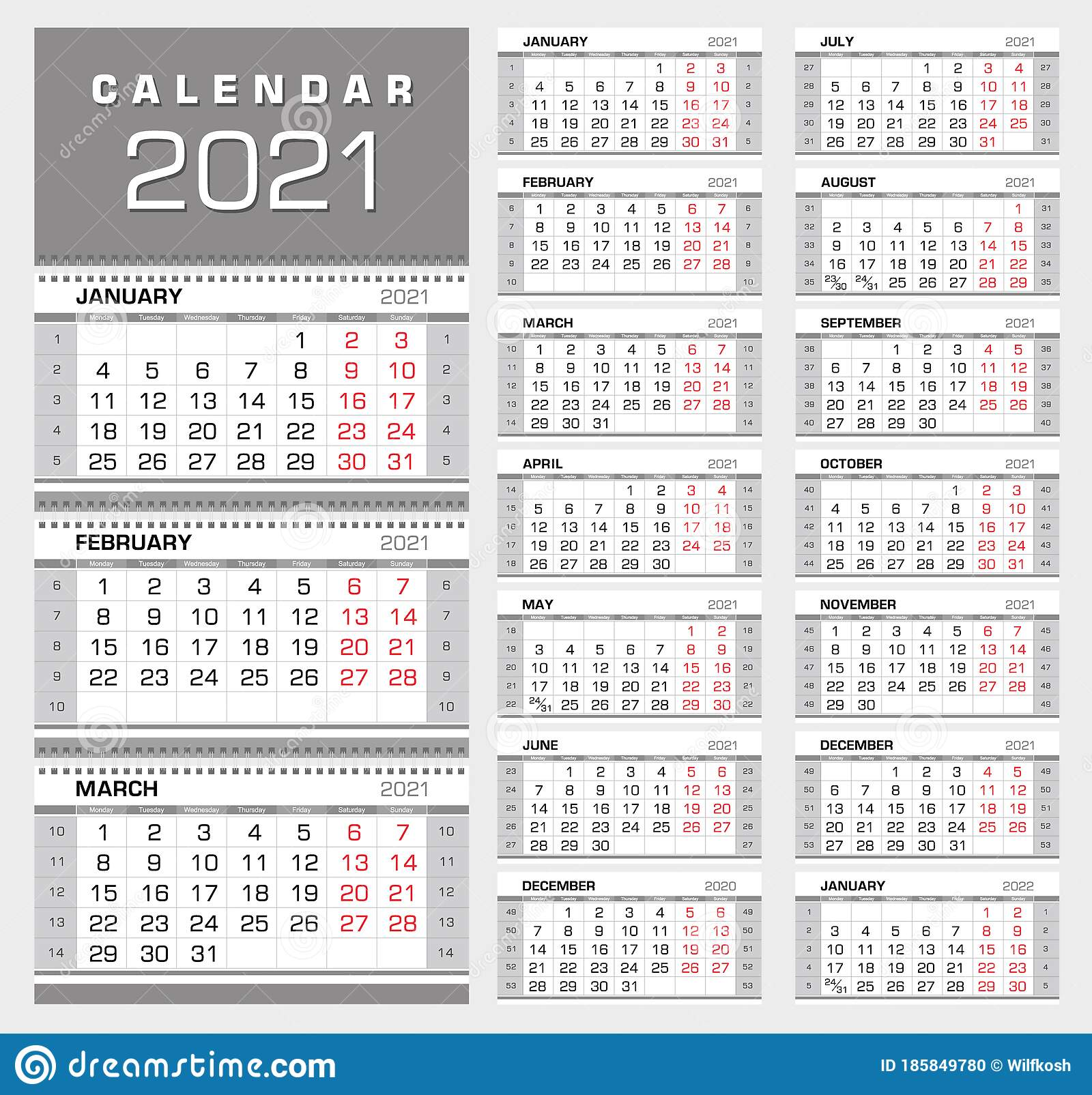 Wall Quarterly Calendar 20 with Week Numbers. Week Start from ...