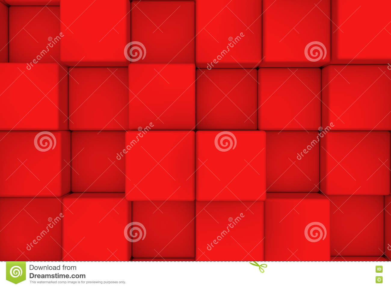 Wall of red cubes. Abstract background