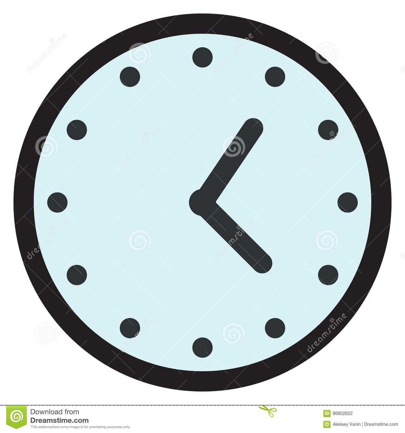 Wall Round Analog Clock Face, Watch Icon Stock Vector
