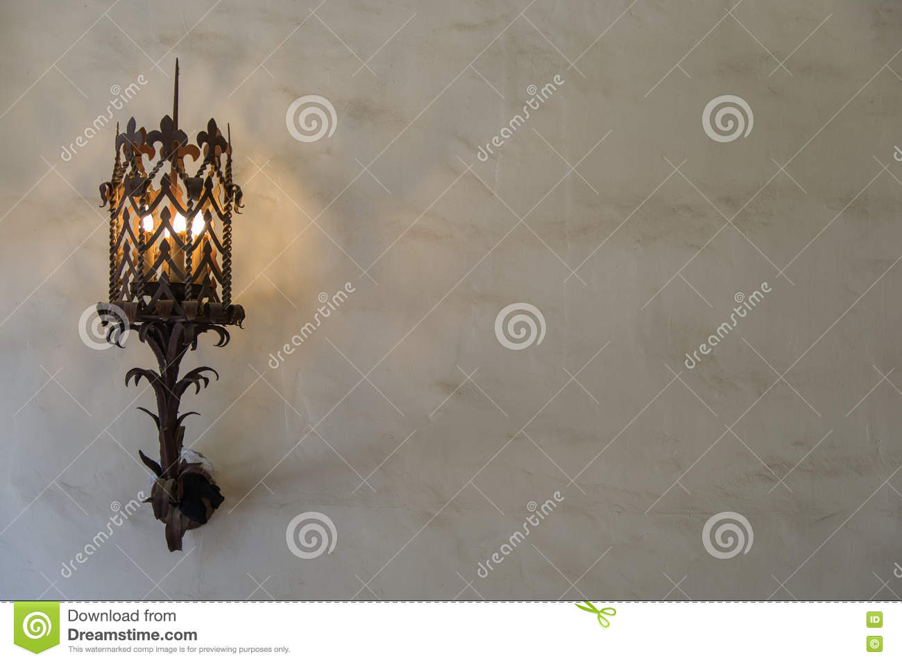 Wall Sconce On Plaster Wall Landscape Stock Image Image Of