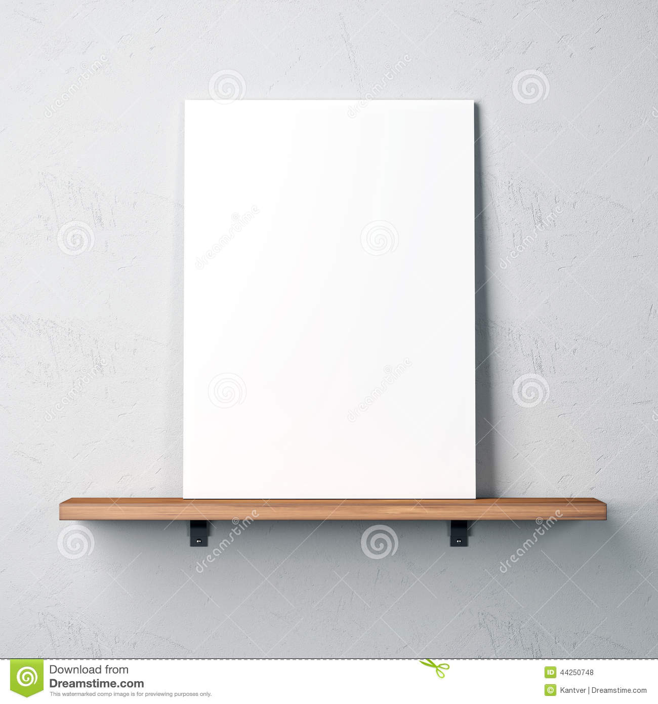 Wall with shelf and blank poster