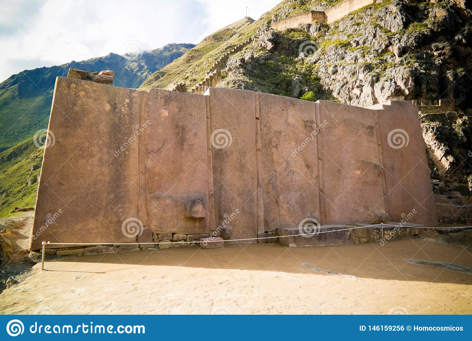 Wall of the Six Monoliths at Ollantaytambo archaeological site, Cuzco, Peru