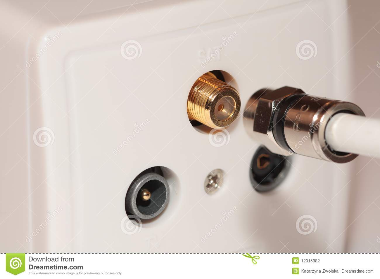 Wall Socket And Coaxial Cable Stock Photo Image Of
