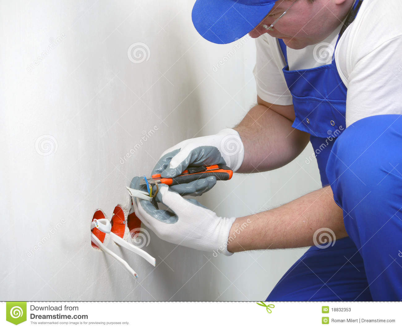 Stock Photos Wall Socket Installation Image18832353 on repair electrical outlet