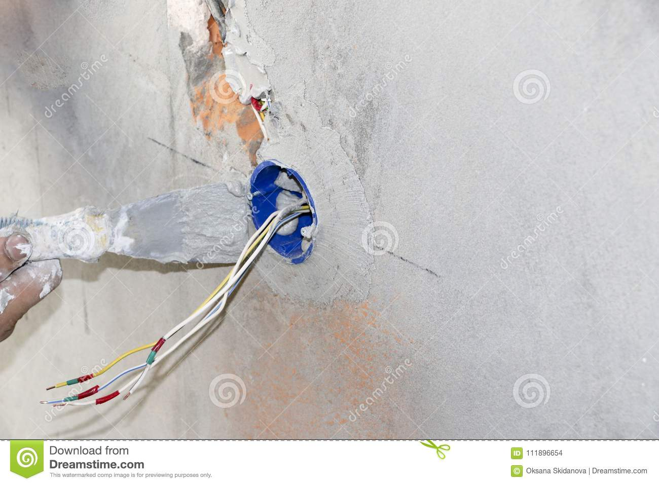 Wall Socket Installationwork On Installing Electrical Outlets Wiring For Installation Work Electrician Prepares Fitting