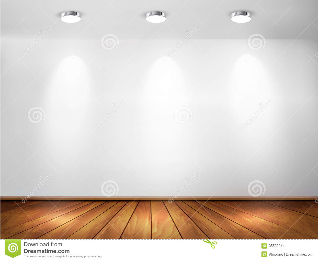 Wall With Spotlights And Wooden Floor Showroom Co Stock