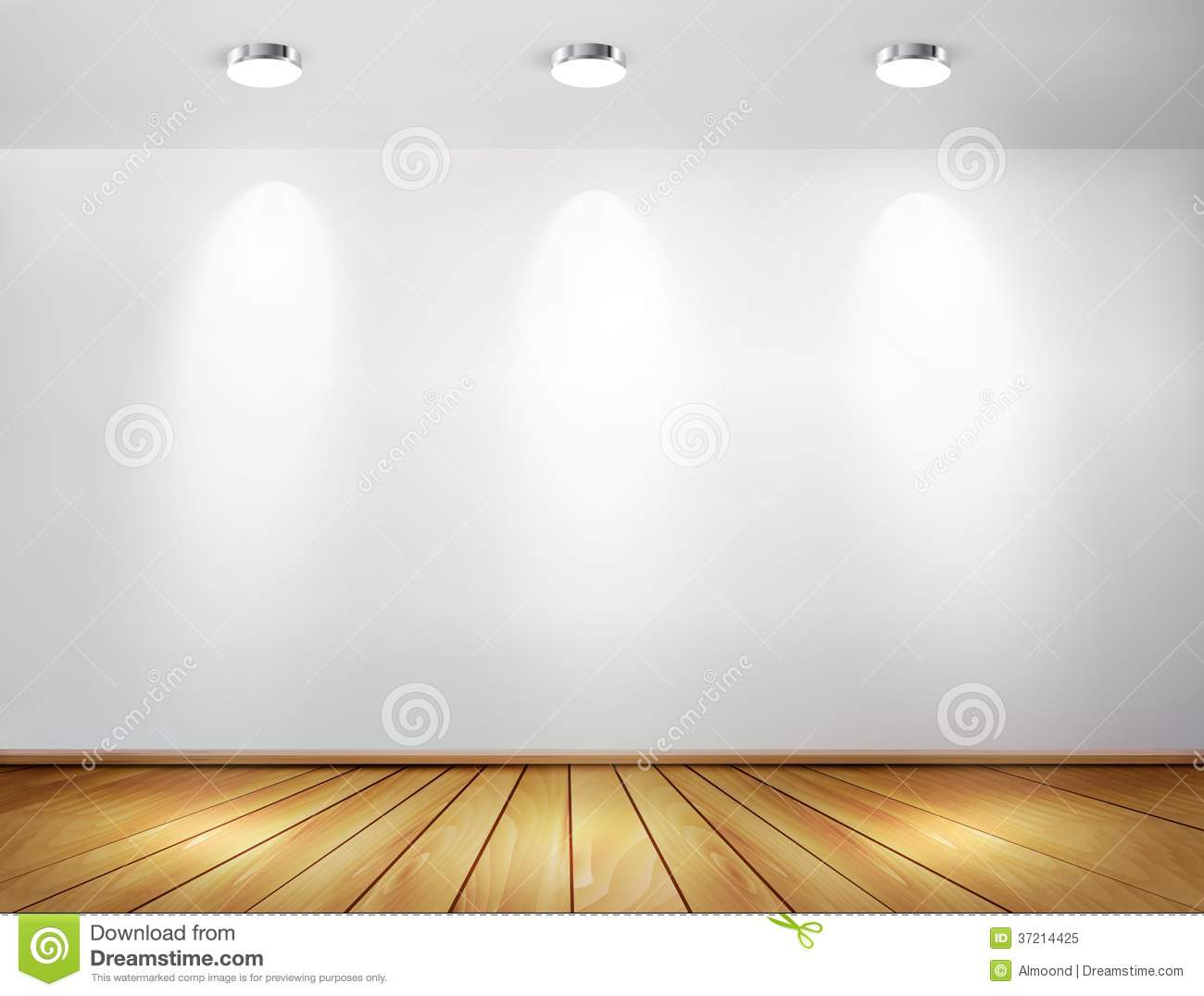 Wall with spotlights and wooden floor stock vector illustration wall with spotlights and wooden floor mozeypictures Choice Image