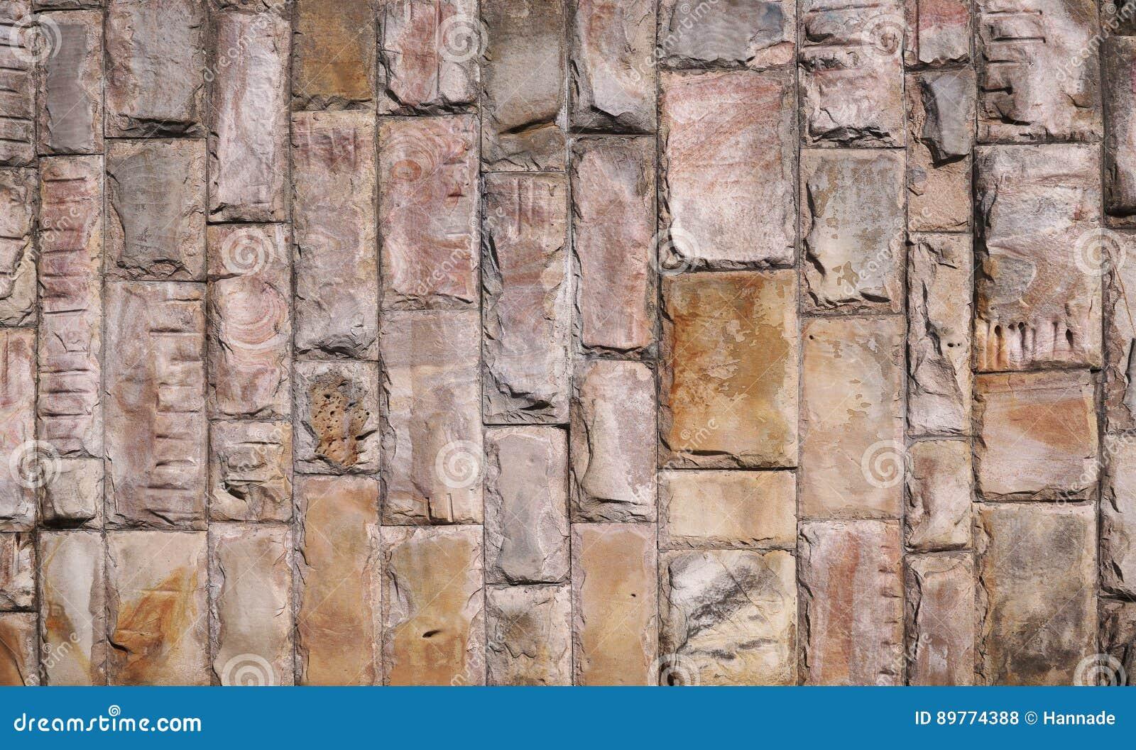 Wall of stone blocks