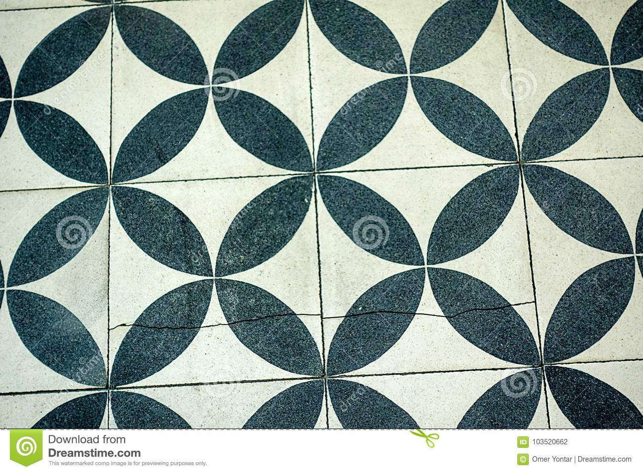 Wall Tiles With Repetitive Black And White Circular Pattern Stock ...