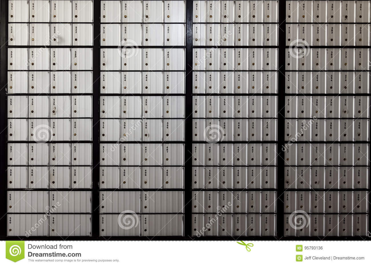 Wall Of United States Post Office Boxes Stock Photo Image Of
