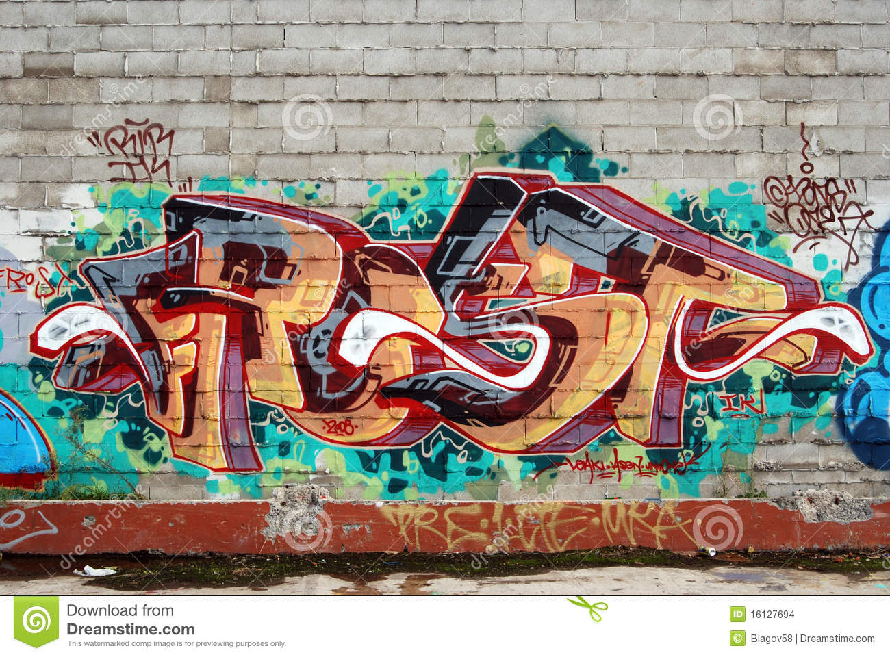 An Old Brick Wall Vandalized With Graffiti Street Art Urban Culture Abstract Background