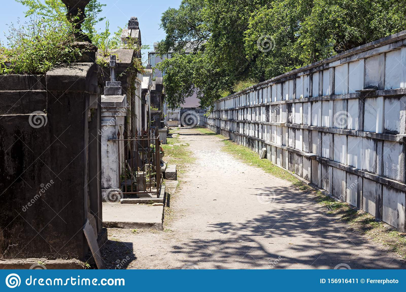 Wall Vaults and Tombs at Historic Cemetery in New Orleans