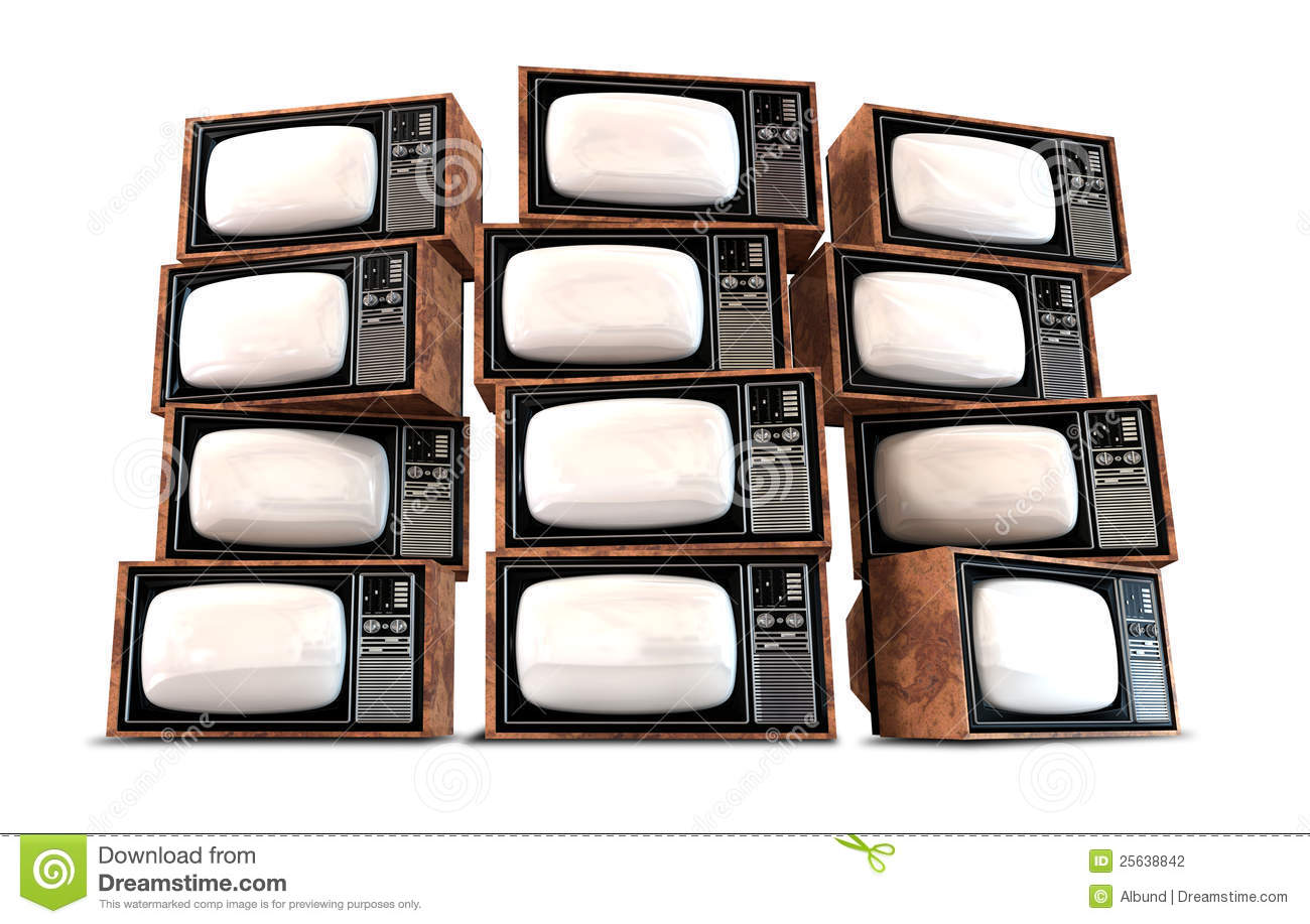 wall of twelve old vintage tube televisions with mahogany trim and ...