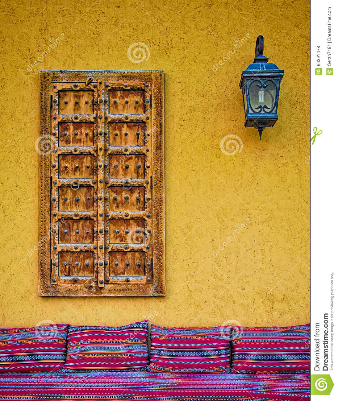 The Wall With Window And Lamp Stock Photo - Image: 66391478