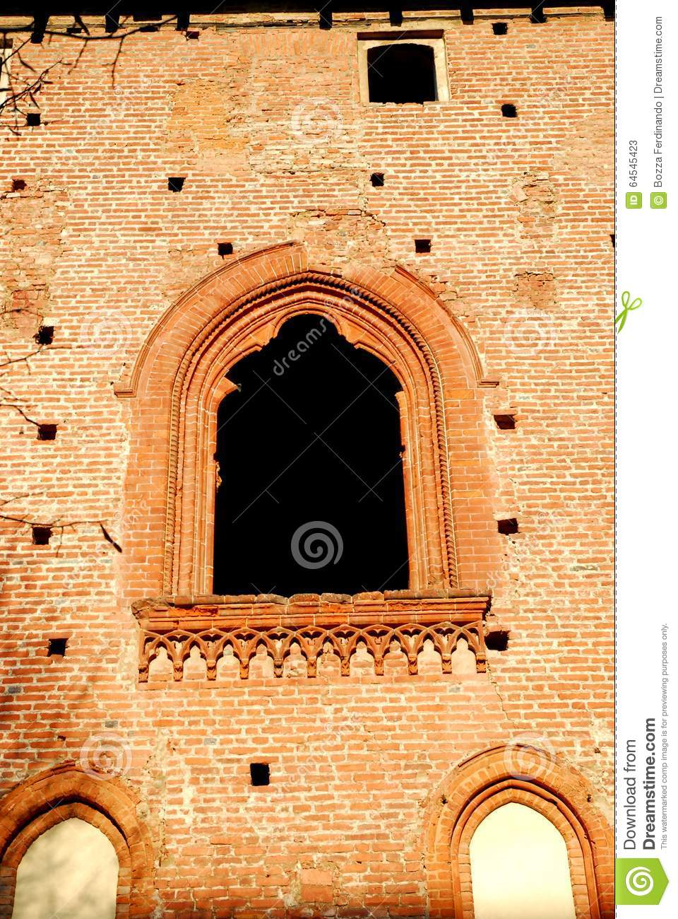 A wall with a window that looks like a painting in the castle of Vigevano near Pavia in Lombardy (Italy)