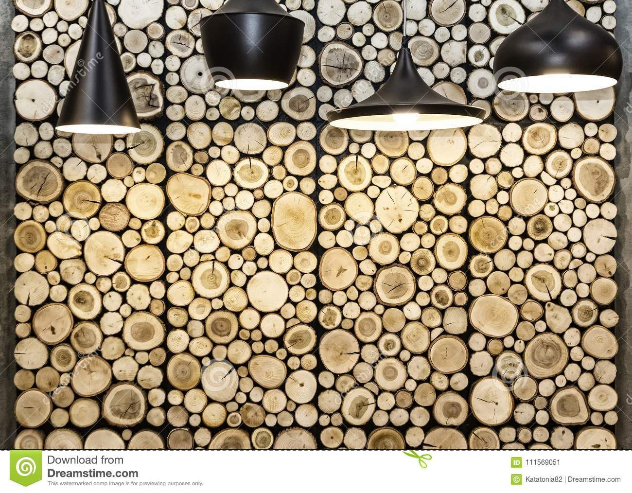 Wall With Wooden Decorative Panels Stock Image - Image of retro ...