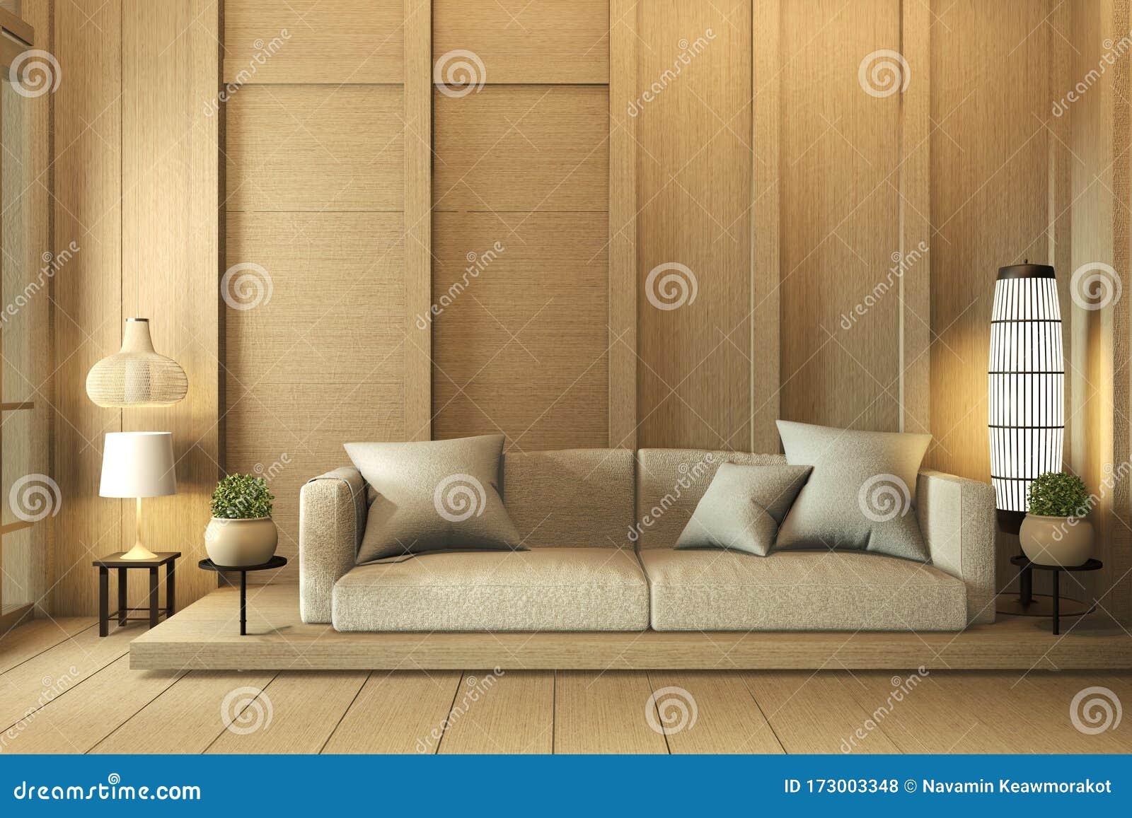 Mock Up Wall Wooden Interior Design Zen Modern Living Room Japanese Style 3d Rendering Stock Illustration Illustration Of Decoration Asian 173003348