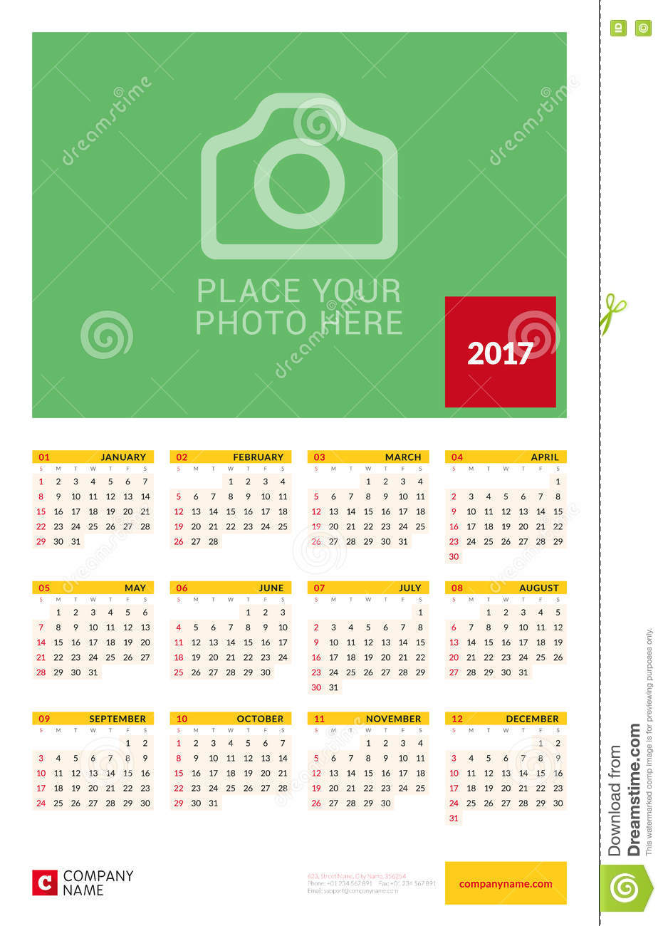 Calendar Poster Template : Wall yearly calendar poster for year vector design