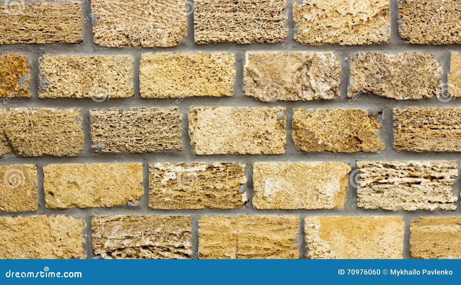 Wall Of Yellow Coquina Blocks Closeup Stock Photo - Image of marble ...