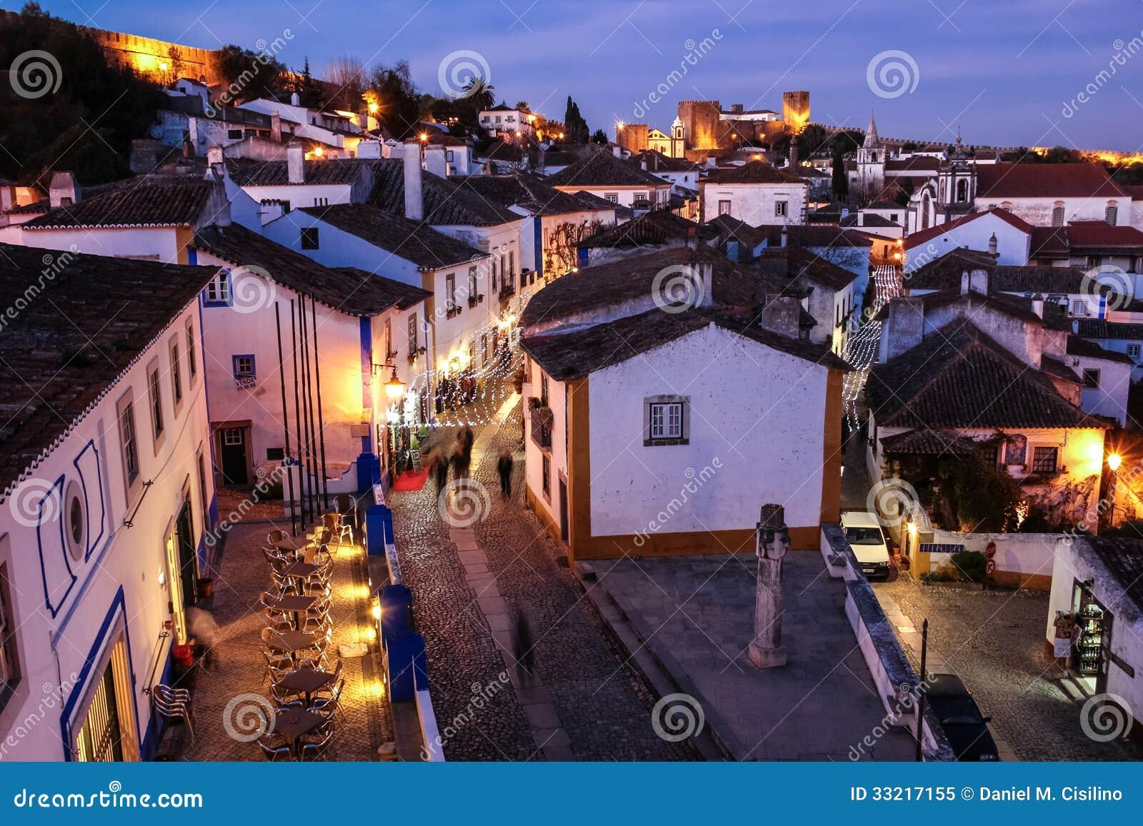 Walled Citadel At Night Obidos Portugal Royalty Free