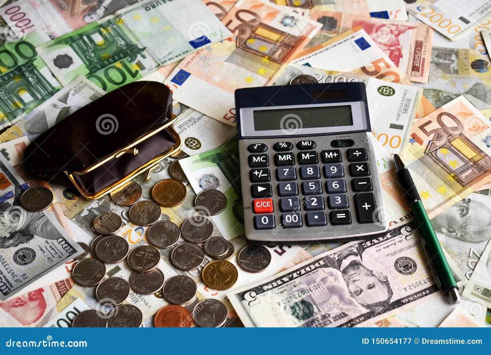 Wallet calculator ball pen coins and paper money
