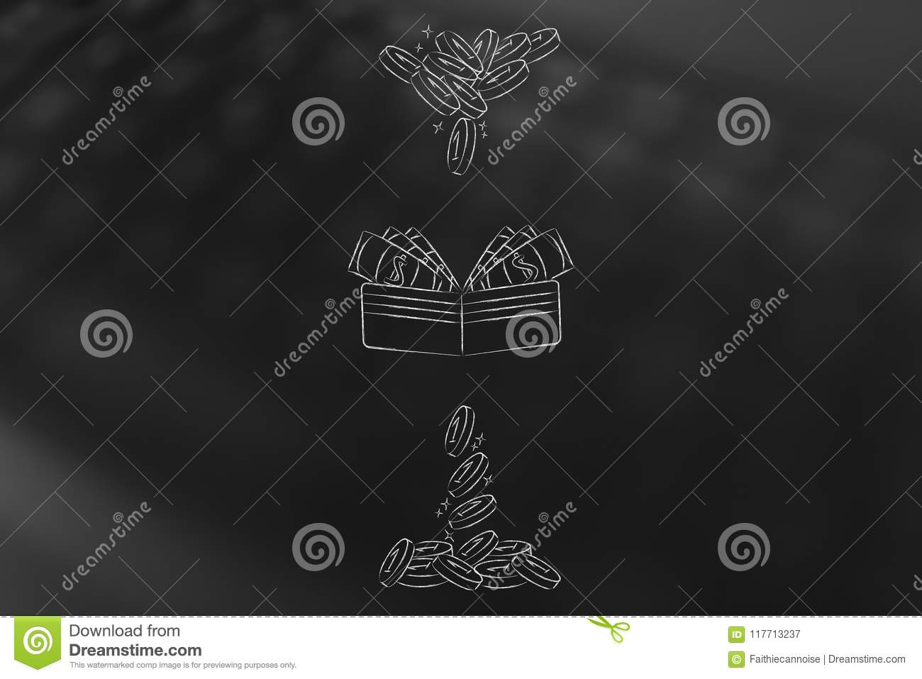 Wallet With Coins Dropping In And Out Of It Symbol Of Earnings V