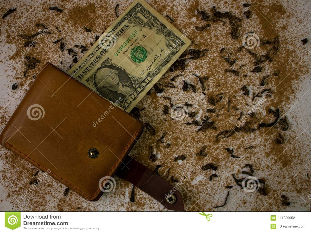 Wallet With Dollar On The Background Stock Photo - Image of