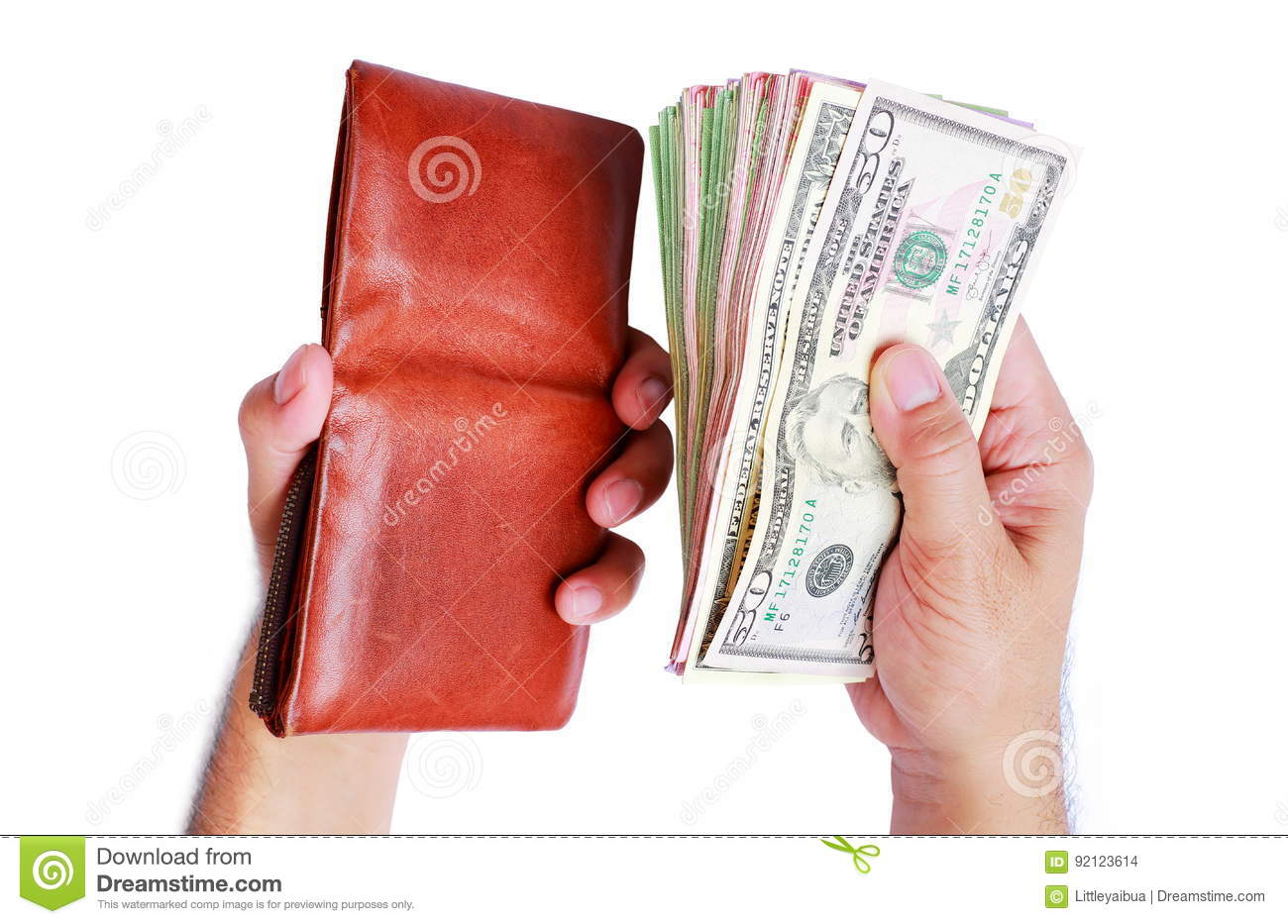 Wallet and dollar money showing in men`s hand isolated on